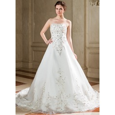 A-Line/Princess Sweetheart Chapel Train Satin Organza Wedding Dress With Embroidered Sequins