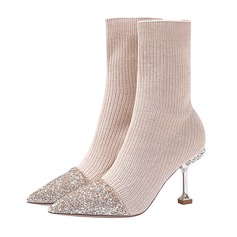 Women's Cloth Stiletto Heel Boots Closed Toe Pumps With Sparkling Glitter Split Joint