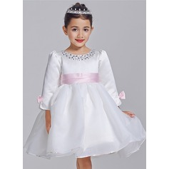 A-Line/Princess Short/Mini Flower Girl Dress - Tulle 3/4 Sleeves Scoop Neck With Sash/Bow(s)/Rhinestone