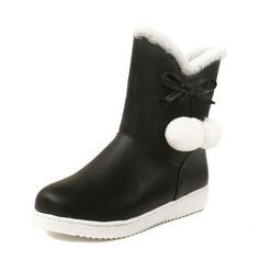 Vrouwen Kunstleer Flat Heel Closed Toe Laarzen Half-Kuit Laarzen Snowboots met strik Bont schoenen