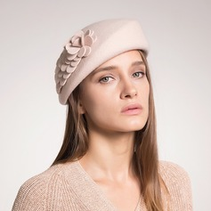 Beautiful Wool With Silk Flower Beret Hat
