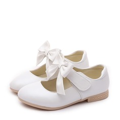 Girl's Closed Toe Leatherette Flat Heel Flats Flower Girl Shoes With Bowknot Velcro