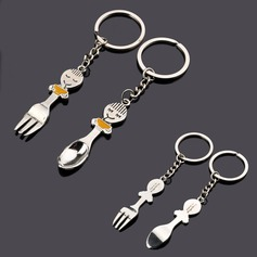 "Personalized ""Spoon and Fork"" Zinc Alloy Keychains"