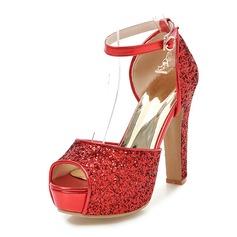 女性用 スパークリンググリッター チャンキーヒール サンダル パンプス プラットフォーム ピープトウシューズ とともに バックル 靴