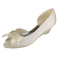 Women's Satin Wedge Heel Peep Toe Wedges With Bowknot Imitation Pearl