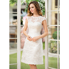 A-Line/Princess Scoop Neck Knee-Length Lace Wedding Dress (002052768)