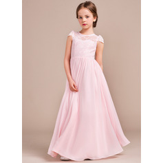 A-Line/Princess Scoop Neck Floor-Length Chiffon Lace Junior Bridesmaid Dress (009081155)