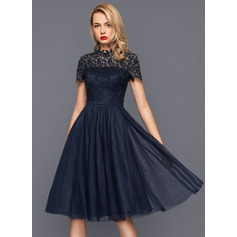 A-Line/Princess High Neck Knee-Length Tulle Cocktail Dress (016140367)