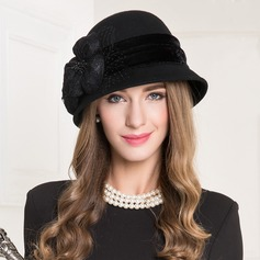 Ladies' Vintage Wool With Tulle Bowler/Cloche Hat
