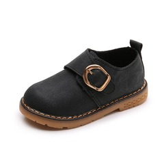 Girl's Round Toe Leatherette Flat Heel Flats Boots With Buckle