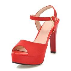 Mulheres Camurça Couro Salto agulha Sandálias Bombas Plataforma Peep toe sapatos