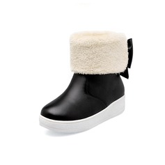 Leatherette Flat Heel Platform Ankle Boots With Bowknot Fur shoes