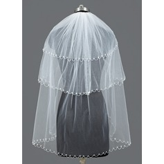 Three-tier Fingertip Bridal Veils With Beaded Edge
