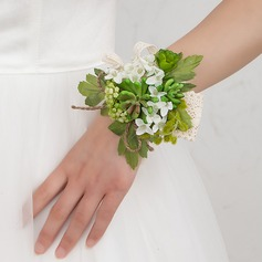 Green Free-Form Satin Wrist Corsage