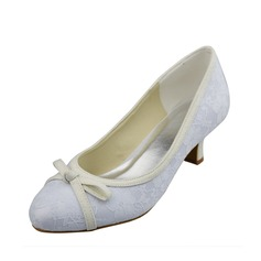 Women's Lace Kitten Heel Closed Toe Pumps With Bowknot