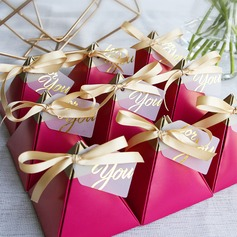 Forever Love Card Paper Favor Boxes With Ribbons