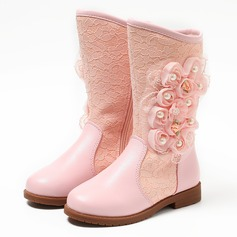 Girl's Closed Toe Mid-Calf Boots Real Leather Flat Heel Flats Boots Flower Girl Shoes With Imitation Pearl Flower