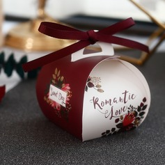 Sweet Love Card Paper Favor Boxes With Ribbons