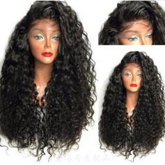 4A non remy Kinky Curly Cheveux humains Perruques avant en dentelle 280g