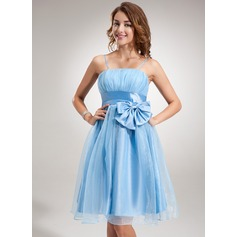 Empire Knee-Length Organza Homecoming Dress With Ruffle Bow(s)