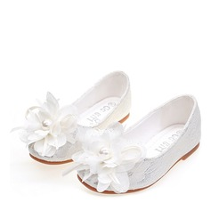Girl's Round Toe Closed Toe Silk Like Satin Flat Heel Flats Flower Girl Shoes With Satin Flower