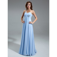 Empire One-Shoulder Floor-Length Chiffon Holiday Dress With Ruffle Beading