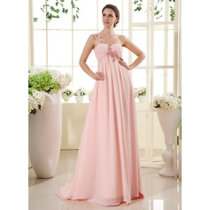 Empire One-Shoulder Sweep Train Chiffon Chiffon Maternity Bridesmaid Dress With Ruffle Lace Beading (045022469)