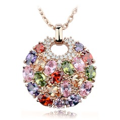 Luxurious Zircon/Rose Gold Plated Ladies' Necklaces