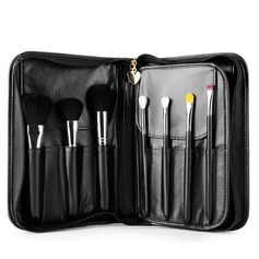 Artificial Fibre Charming 15Pcs Black PU Bag Makeup Supply