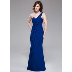 Trumpet/Mermaid One-Shoulder Floor-Length Chiffon Evening Dress With Ruffle Beading Sequins