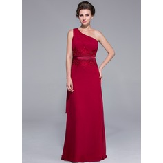 Sheath/Column One-Shoulder Sweep Train Chiffon Mother of the Bride Dress With Lace Beading Sequins