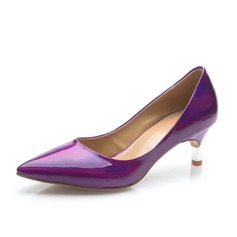 Patent Leather Low Heel Pumps Closed Toe shoes
