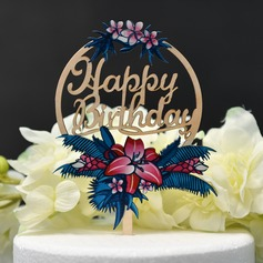 Flower/Happy Birthday Wood Cake Topper (Sold in a single piece)