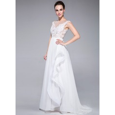A-Line/Princess Scoop Neck Sweep Train Chiffon Evening Dress With Beading Appliques Lace Sequins Cascading Ruffles