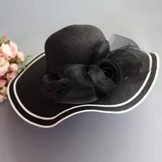 Ladies' Special/Elegant/Simple Raffia Straw With Tulle Straw Hat