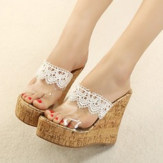 Women's Wedge Heel Sandals Platform Wedges Slingbacks Slippers With Lace-up Tassel shoes