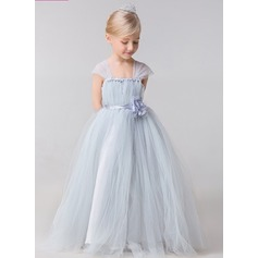 Ball Gown Ankle-length Flower Girl Dress - Rayon Straps With Flower(s)