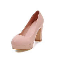 Women's Leatherette Chunky Heel Pumps Platform shoes (085097003)