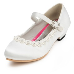 Girl's Satin Low Heel Closed Toe Pumps With Buckle