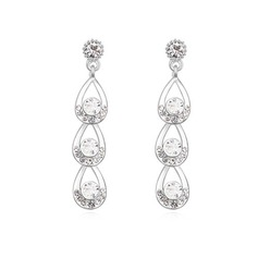 Charming Platinum Plated With Crystal Ladies' Earrings