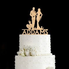 "Personalized ""Couple on the Grass"" Wood Cake Topper"