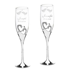 Personalized Heart Design Alloy Glass Toasting Flutes (2 Pieces)