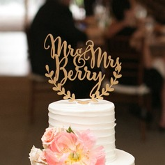 Personalized Mr. & Mrs. Wood Cake Topper