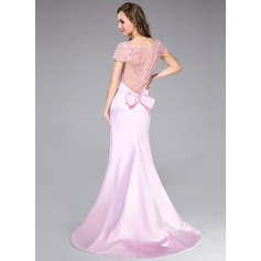 Trumpet/Mermaid Scoop Neck Sweep Train Satin Evening Dress With Beading Bow(s)