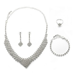 Exquisite Alloy/Rhinestones/Silver Plated Ladies' Jewelry Sets