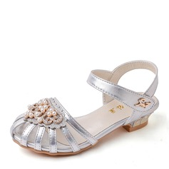 Girl's Round Toe Microfiber Leather Low Heel Sandals Flower Girl Shoes With Beading Rhinestone Sparkling Glitter Velcro Hollow-out