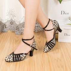 Women's Real Leather Heels Pumps Modern With Ankle Strap Dance Shoes