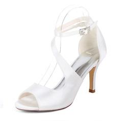 Женщины шелка как атласное Высокий тонкий каблук На каблуках Сандалии с пряжка Эластичная лента