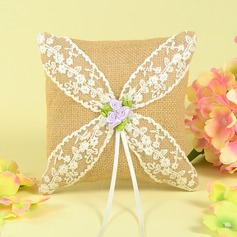 Grace Ring Pillow in Linen With Lace/Rose