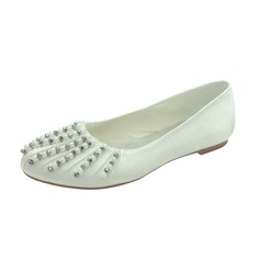 Women's Satin Flat Heel Closed Toe Flats With Beading